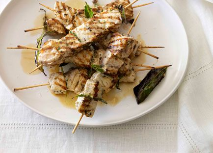 Swordfish souvlaki with lemon and herb pilaf