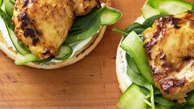 Satay chicken burgers