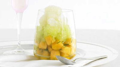 "Recipe:&nbsp;<a href=""https://kitchen.nine.com.au/2016/05/17/14/39/rockmelon-with-moscatomint-and-honeydew-granita"" target=""_top"">Rockmelon with Moscato-mint and honeydew granita</a>"