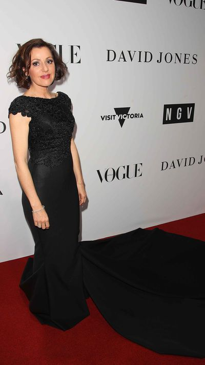 Tina Arena in Cappellazzo Couture on the red carpet at the National Gallery of Victoria for the opening of the Dior exhibition.
