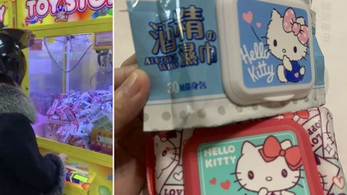 Surgical masks and alcohol wipes have been found in claw machines in Taiwan.