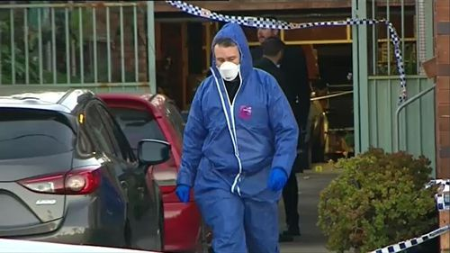 Crime scene investigators at the Brighton Le Sands home on Sunday. Picture: 9NEWS