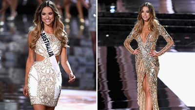 Miss Australia, Monika Radulovic, during the top 15 announcement and competing in the evening gown competition. (Getty)