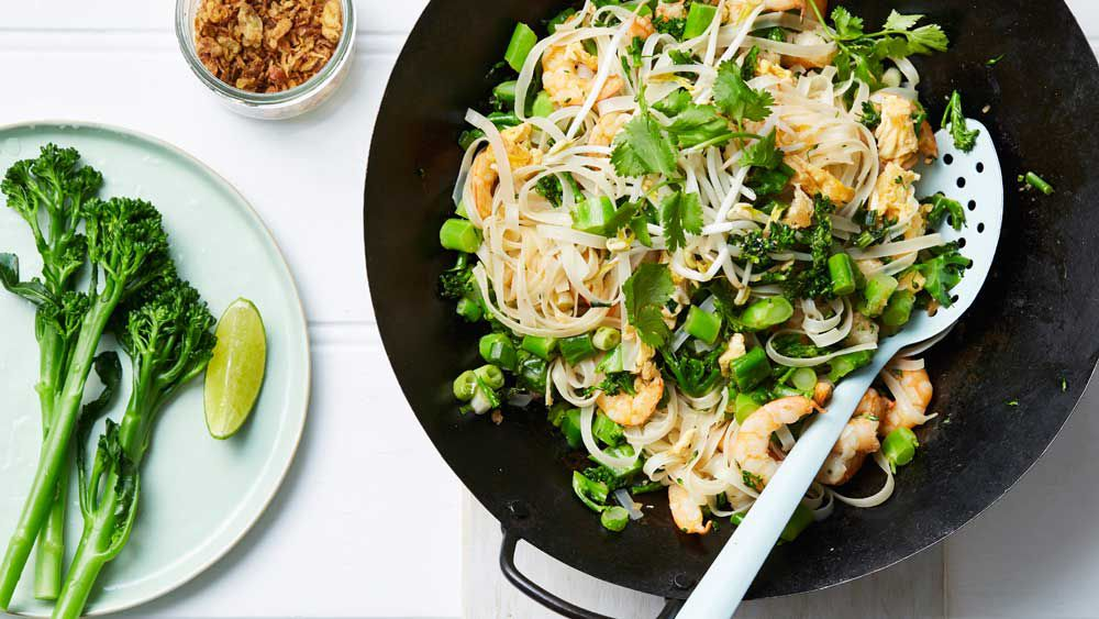 Prawn and broccolini pad Thai