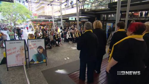 Allison's parents were front and centre for the campaign launch this morning. Picture: 9NEWS