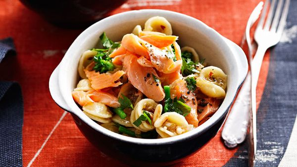Orecchiette with smoked trout and broccolini