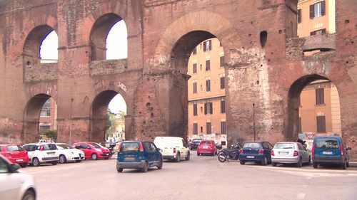 Car exhausts have stained sections of the wall thanks to the building of roads through the arches. Picture: 9NEWS