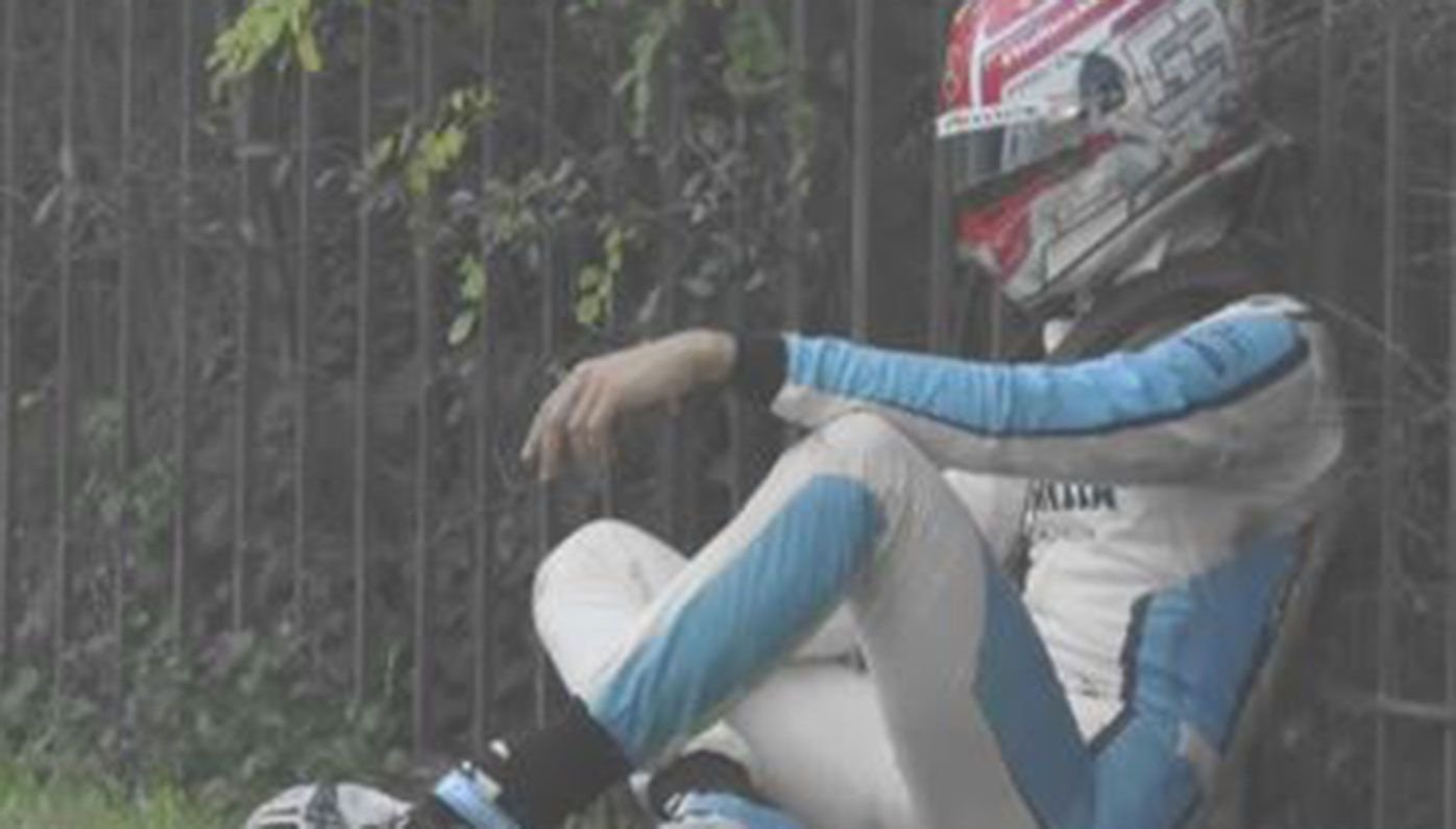 A frustrated George Russell after he crashed out of the Emilia Romagna Grand Prix.
