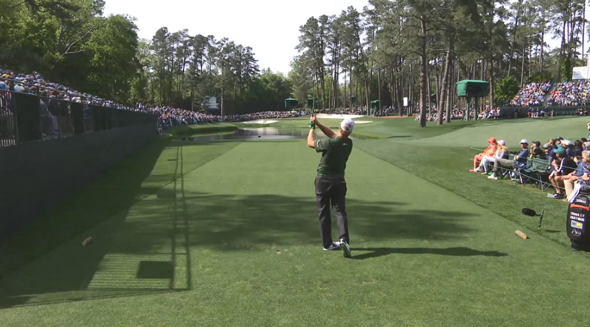 US golfer Charley Hoffman produces shot of the tournament with hole in one at the Masters