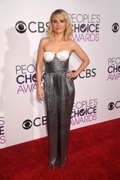 <p>Kristen Bell in Rasario. The jumpsuit itself is adorable – the ruffled breast cups, not so much.</p> <p>Image: Getty.</p>