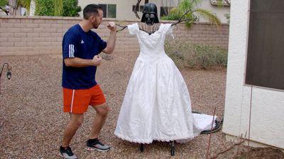 Making the Darth Vader scarecrow. (MyExWifesWeddingDress.com)