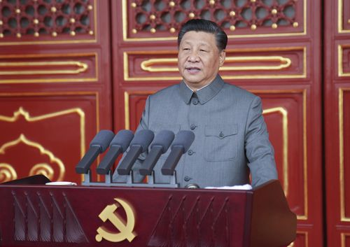 Chinese President and party leader Xi Jinping delivers a speech at a ceremony marking the centenary of the ruling Communist Party in Beijing, China.