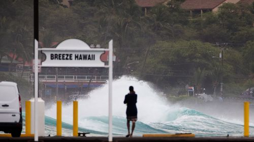 Dangerous surf is being kicked up off shore as the hurricane hits.