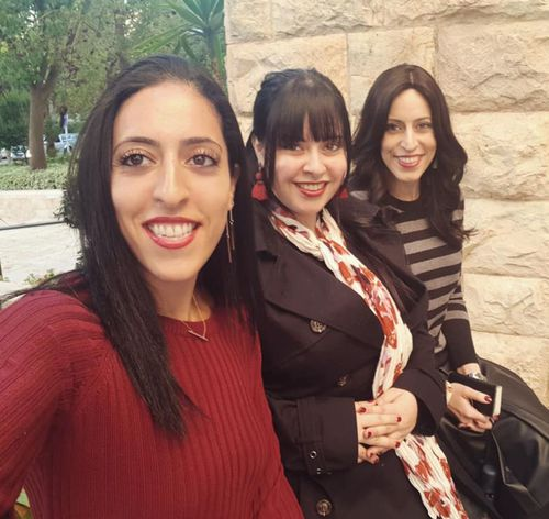 Dassi Erlich (centre) with her sisters Elly Sapper (left) and Nicole Meyer (right) who were allegedly abused by Malka Leifer.