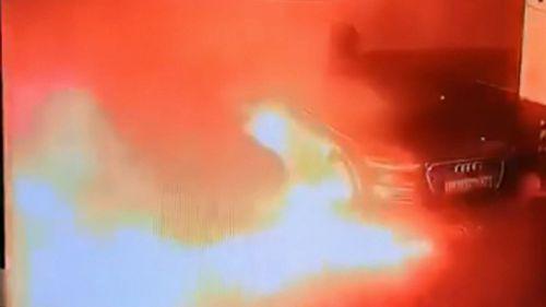 190423 Tesla Model S sedan explosion China car park viral video world news