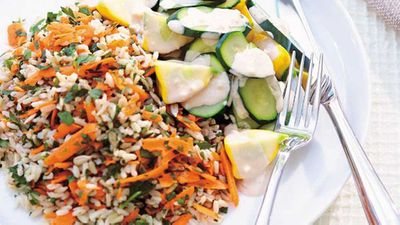 Brown rice with vegetables and tahini dressing