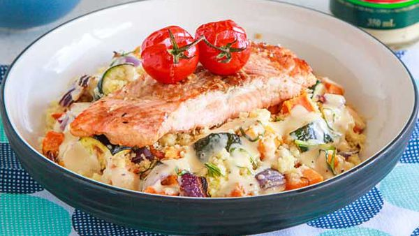 Salmon with warm roast vegetable couscous salad