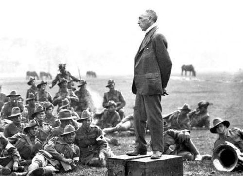 Australian Prime Minister Billy Hughes addressing soldiers in World War I.