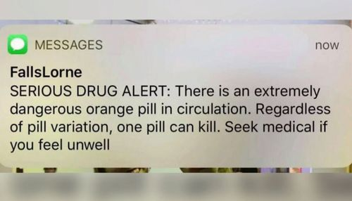 The warning was sent to festival-goers after a suspected drugs death at another event.