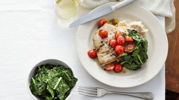 Tuna with olive and tomato butter, white bean mash and cavalo nero