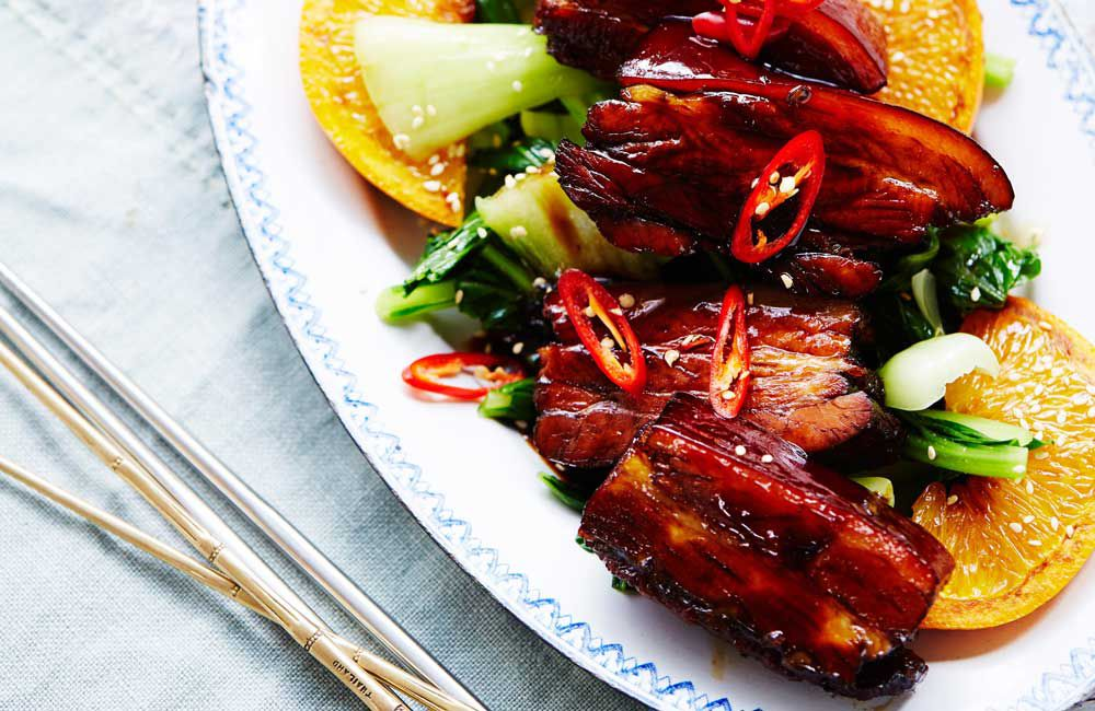 Caramelised pork belly in Chinese master stock with chilli and orange by Chang's