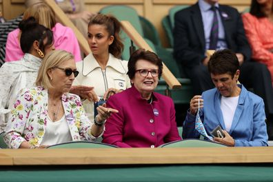 LONDON, ENGLAND - JULY 10:  Martina Navratilova and Billie Jean King  watch the Ladies' Singles Final match between Ashleigh Barty of Australia and Karolina Pliskova of The Czech Republic  on Day Twelve of The Championships - Wimbledon 2021 at All England Lawn Tennis and Croquet Club on July 10, 2021 in London, England. (Photo by Clive Brunskill/Getty Images)
