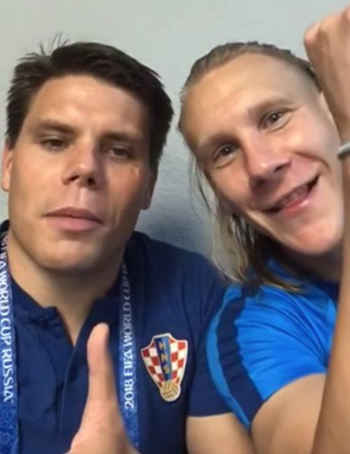 The Croatian Football have sacked Ognjen Vukojevic (left) after he posted a 'Glory to Ukraine' video following the country's win against Russia on Sunday. Picture: Twitter.