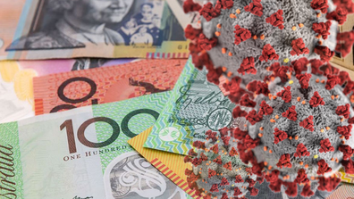 Coronavirus superimposed over money