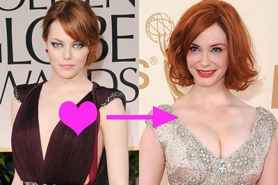 "Red hot Emma Stone can't resist fellow flame-haired Christina Hendricks. ""Everything about her does it for me,"" she swooned to <i>The Advocate<i>, ""That's my kind of woman."""