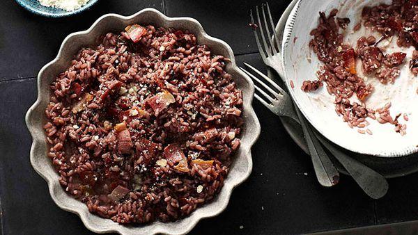 Pancetta, red wine & radicchio risotto
