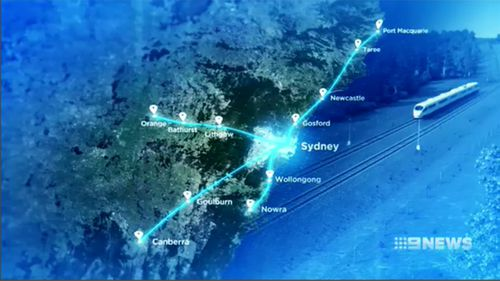 The four options on the table. High speed rail north to Port Macquarie, west to Orange, southwest to Canberra or south to Nowra.