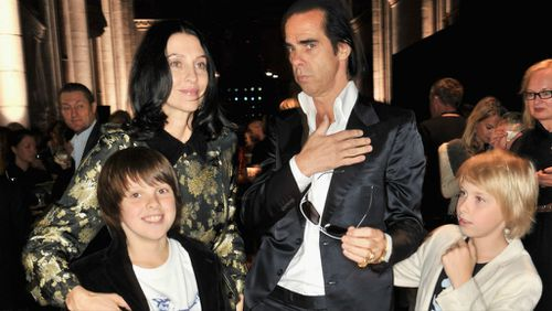 Susie Bick and Nick Cave with their children Earl and Arthur in 2012. (Getty)