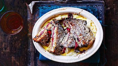 """Recipe:&nbsp;<a href=""""http://kitchen.nine.com.au/2016/05/16/10/27/rhubarb-and-ricotta-bread-and-butter-pudding"""" target=""""_top"""" draggable=""""false"""">Rhubarb and ricotta bread and butter pudding</a>"""