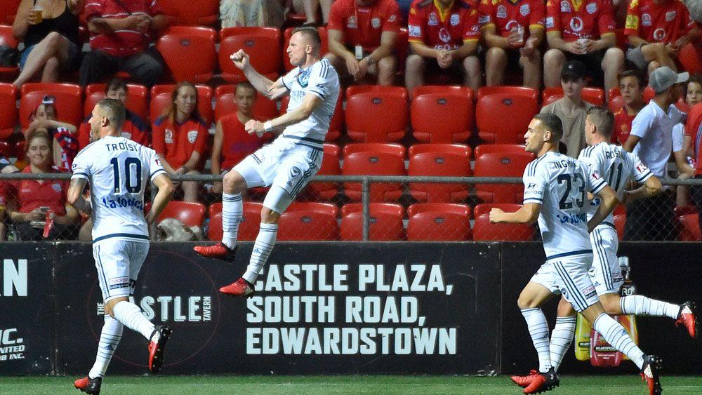 Besart Berisha celebrates a goal. (AAP)