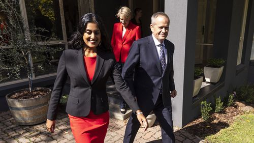 Opposition leader Bill Shorten (right), Deputy Leader Tanya Plibersek (cemntre) and Labor Candidate for Deakin, Shireen Morris (left) leave a home in Mitcham, Melbourne.