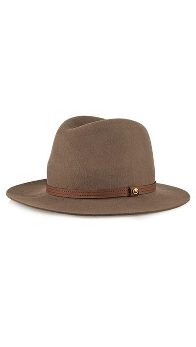 """<a href=""""http://www.net-a-porter.com/au/en/product/600633"""" target=""""_blank"""">Leather-Trimmed Wool-Felt Fedora, $217.76, Rag &amp; Bone</a>"""