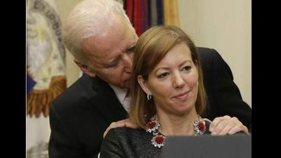 <p>US Vice-President Joe Biden can be icky. </p><p> At the swearing-in of the country's new Secretary of Defence on Tuesday, Biden was putting on his best performance as Washington DC's most handsy pollie. </p><p> As Ashton Carter stood to thank the people for his new role, the notably creepy Biden manhandled his wife Stephanie and pulled her across the stage to stand behind her husband, in front of the cameras and right in front of him. </p><p> The VP stoop directly behind Mrs Carter with his hands on her shoulders for 30 seconds before he leaned in and whispered/sniffed/nuzzled in her ear. </p><p> Mrs Carter's face said it all. </p><p> And it's not the first time Biden has gone all creepy hands, which means taking over from President Obama in two years is getting further out of reach. </p><p> Take a look at some of his worst offences, if you can handle it.  </p><p> </p>