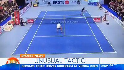 Tennis: Bernard Tomic tries underarm serve in Vienna Open loss to Pierre-Hugues Herbert