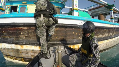 Navy officers boarded rubber duckies and intercepted the vessels on March 3. (Royal Australian Navy)
