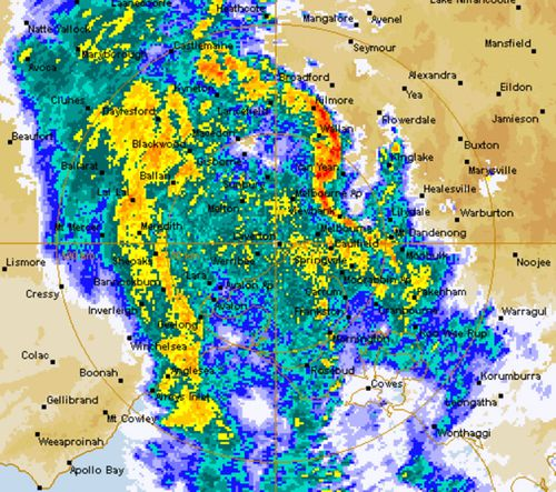 Victorian rain radar Sat 0404 @ 12:30am