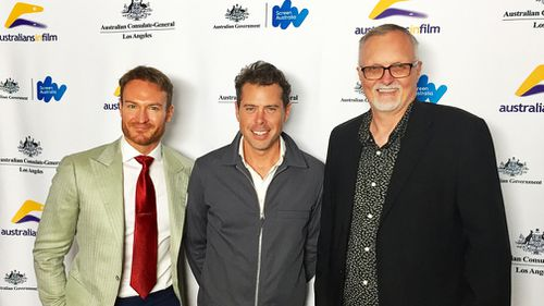 Australia's 2018 Oscar nominees Josh Lawson, Derin Seale and Lee Smith attended a pre-Oscar party in Los Angeles on Friday hosted by Australian Consul-General in LA Chelsey Martin. (AAP)