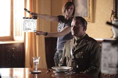 Hugh Bonneville (Robert Crawley) awaits the beginning of a take.