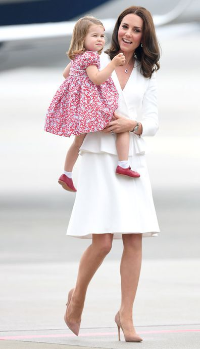 Princess Charlotte and Kate Middleton, Duchess of Cambridge arrive at Warsaw airport ahead of their Royal Tour of Poland and Germany on July 17, 2017 in Warsaw, Poland.
