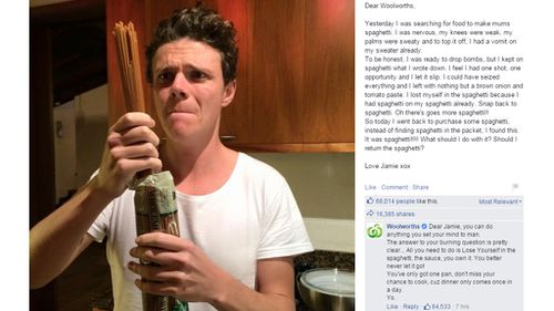 Mr McGloin and Woolworths shared a 'rap-tastic exchange'. (Facebook)