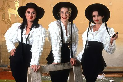 Bananarama (L-R: Sara Dallin, Jacquie O'Sullivan, Keren Woodward) was photographed in San Francisco during their second tour, April 5, 1989 San Francisco, California