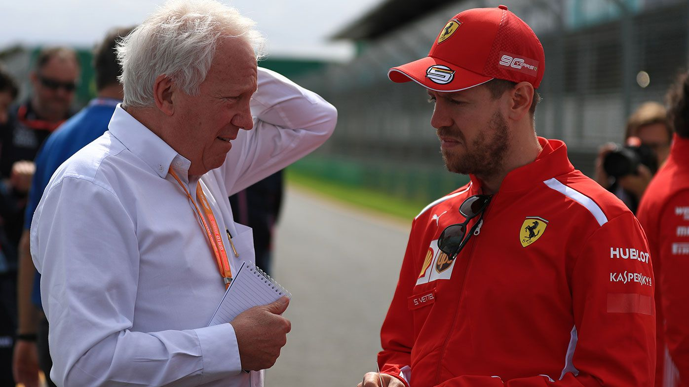 Charlie Whiting (left) with Sebastian Vettel in Melbourne on Wednesday.