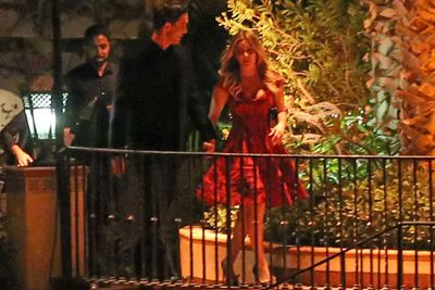 Kaley swapped this chic red dress for a glam pink Vera Wang gown later in the evening...<br/><br/>(Image: AKM-GSI)