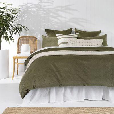 Sloane Quilt Cover Set (Olive) — The Block Shop
