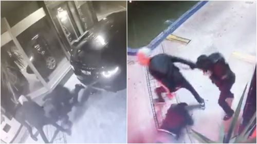 The victim, a man aged in his 50s, was repeatedly kicked by the thugs. Pictures: Supplied/9NEWS