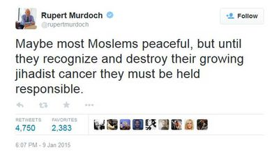 "<p>Rupert Murdoch has again courted online controversy after taking to Twitter to voice the view that peaceful ""Moslems"" must ""recognize and destroy their growing jihadist cancer"".</p>  <p>It's not the first time that the media mogul has voiced his forthright opinion on the microblogging site.</p> <p>Click through for more highlights from <b>Rupert Murdoch's twitter feed</b>.</p> <p> <i>Pics: Twitter</i></p>"